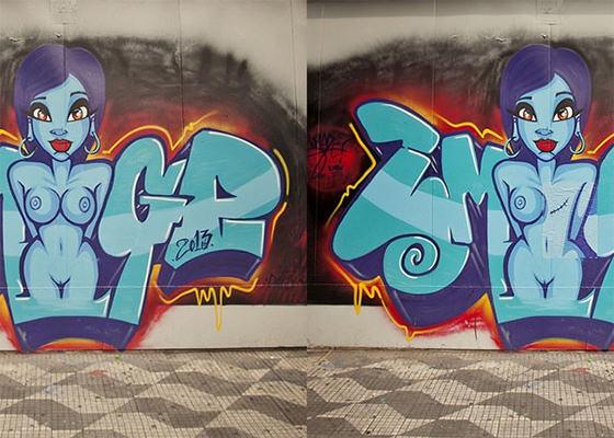 Grafite em campanha sobre Câncer de Mama