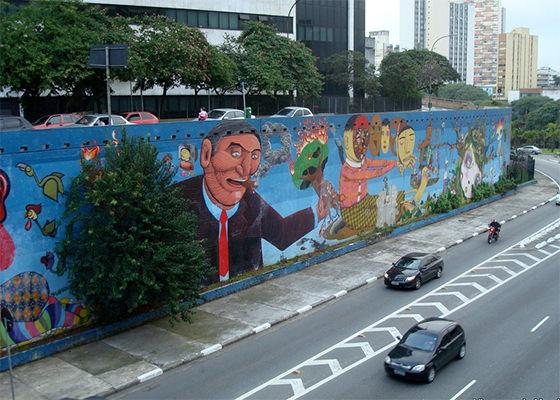 Grafite d Os Gemeos na Avenida 23 de maio em São Paulo