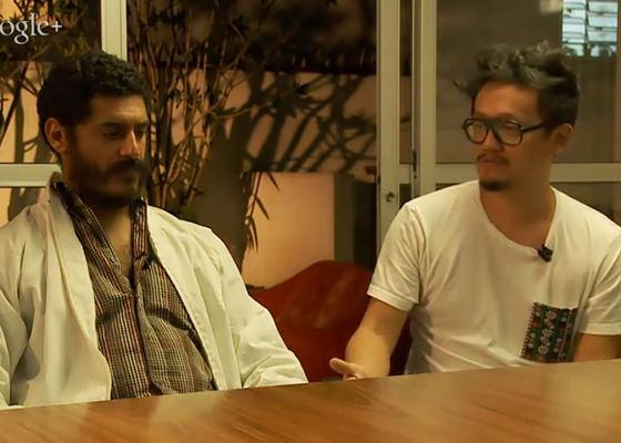 Criolo e o diretor Cisma no hangout de lançamento do curta-metragem