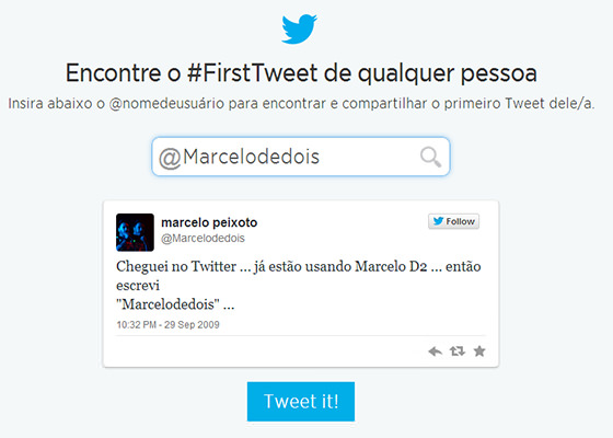 Primeiro Tweet do Marcelo D2