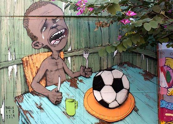 Graffiti de Paulo Ito retrata a Copa do Mundo no Brasil