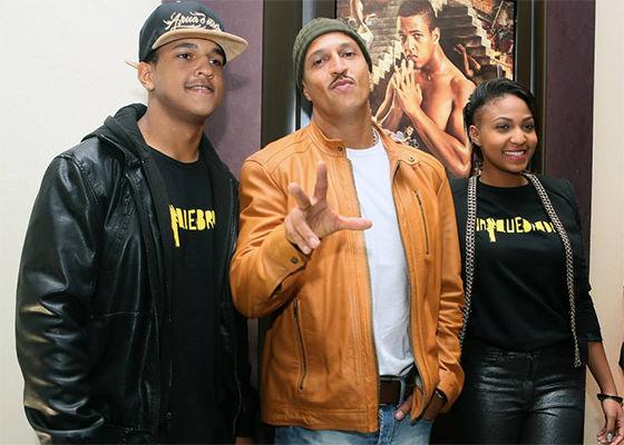 Mano Brown, o filho Jorge Dias e a filha Domênica Dias